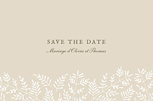 Save the date beige mille fougères beige