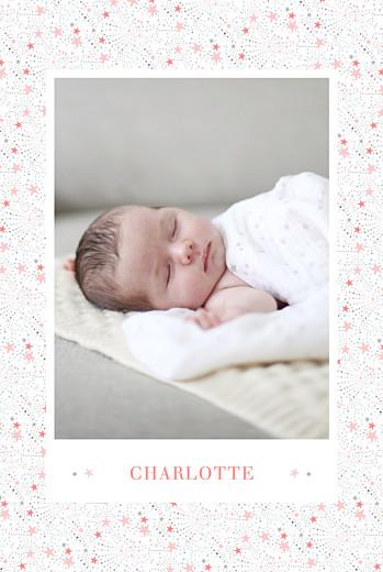 Faire-part de naissance Liberty étoiles photo portrait rose