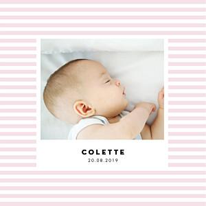 Faire-part de naissance violet rayures pastel 4 pages rose