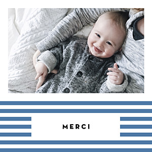 Carte de remerciement bleu merci rayures pastel bleu