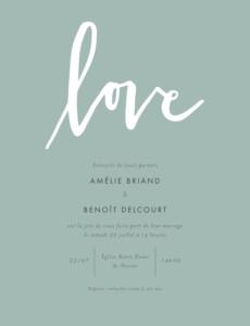 Faire-part de mariage Lettres d'amour portrait vert