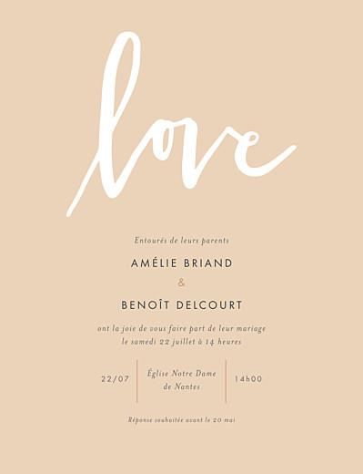 Faire-part de mariage Lettres d'amour portrait rose