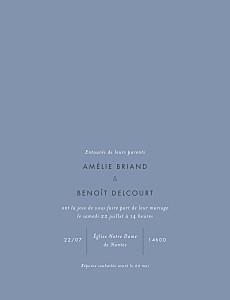 Faire-part de mariage Lettres d'amour portrait dorure bleu
