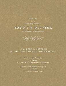 Faire-part de mariage Provence kraft