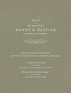 Faire-part de mariage vintage provence olive