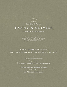 Faire-part de mariage traditionnel provence olive