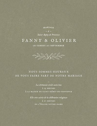 Faire-part de mariage Provence olive