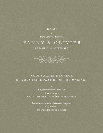 Faire-part de mariage Provence olive finition