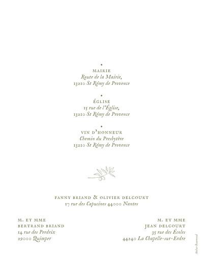 Faire-part de mariage Provence olive - Page 2