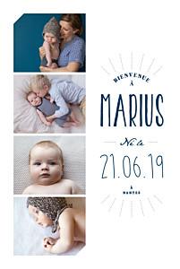 Faire-part de naissance design bienvenue portrait bleu