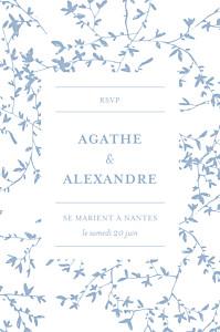 Carton réponse mariage Reflets dans l'eau bleu