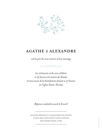 Faire-part de mariage Reflets dans l'eau portrait vert - Page 2