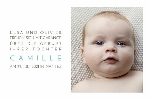 Faire-part de naissance Bilingue justifie 4 photos blanc