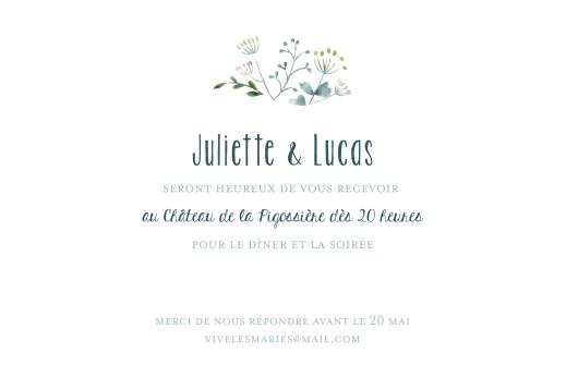 Carton d'invitation mariage Bouquet sauvage bleu