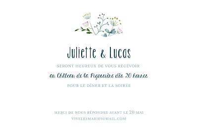 Carton d'invitation mariage Bouquet sauvage bleu finition
