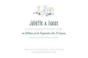 Carton d'invitation mariage violet bouquet sauvage rose