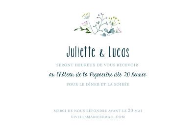 Carton d'invitation mariage Bouquet sauvage rose finition