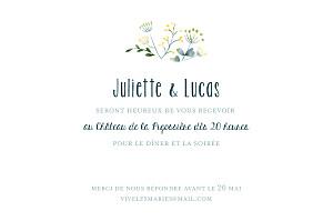 Carton d'invitation mariage blanc bouquet sauvage jaune