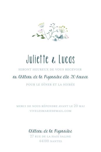 Carton d'invitation mariage Bouquet sauvage (portrait) bleu