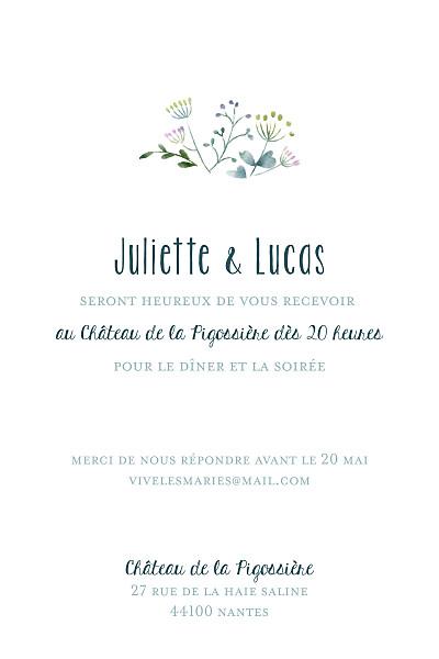 Carton d'invitation mariage Bouquet sauvage (portrait) bleu finition