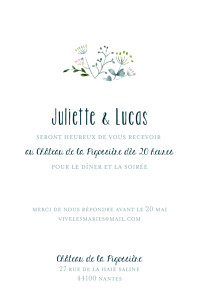 Carton d'invitation mariage classique bouquet sauvage (portrait) rose