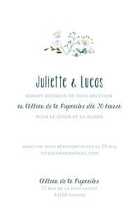Carton d'invitation mariage violet bouquet sauvage (portrait) rose
