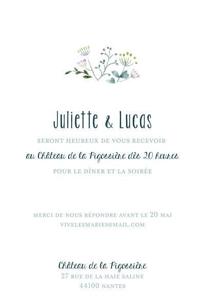 Carton d'invitation mariage Bouquet sauvage (portrait) rose finition