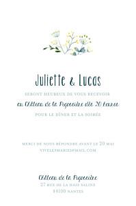 Carton d'invitation mariage jaune bouquet sauvage (portrait) jaune