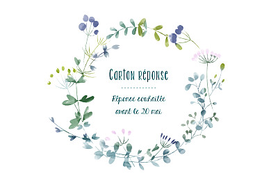 Carton réponse mariage Bouquet sauvage bleu finition