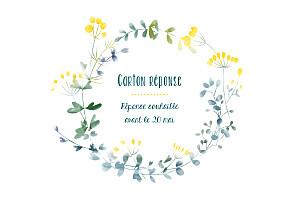 Carton réponse mariage Bouquet sauvage jaune