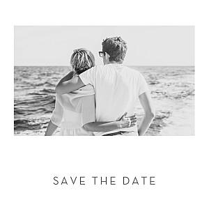 Save the date argenté élégant cœur (dorure) blanc