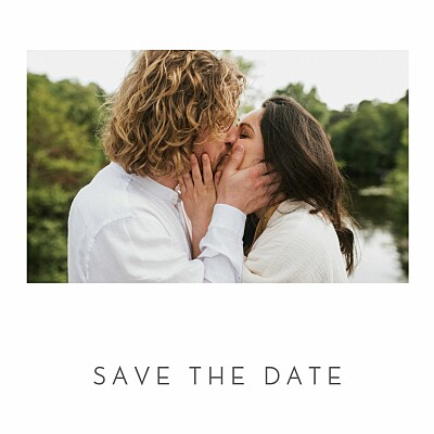 Save the Date Petit élégant cœur (dorure) blanc finition
