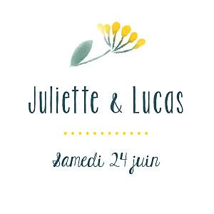 Etiquette de mariage blanc bouquet sauvage jaune