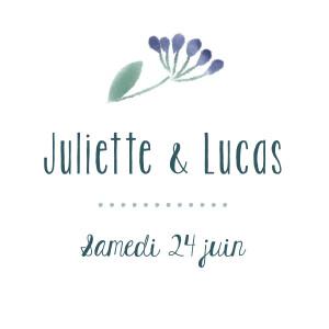 Etiquette perforée mariage Bouquet sauvage bleu