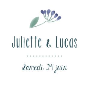 Etiquette de mariage Bouquet sauvage rose