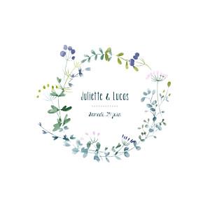 Faire-part de mariage violet bouquet sauvage rose