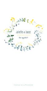 Menu de mariage Bouquet sauvage jaune