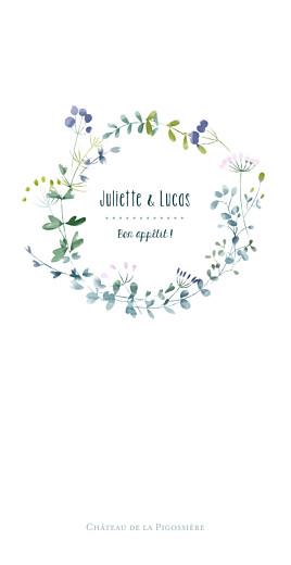 Menu de mariage Bouquet sauvage rose