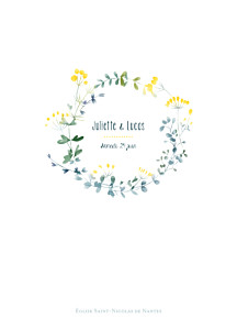 Livret de messe mariage Bouquet sauvage jaune
