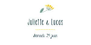 Marque-place mariage Bouquet sauvage jaune
