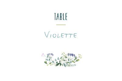 Marque-table mariage Bouquet sauvage bleu finition