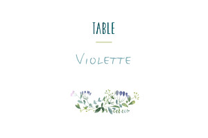Marque-table mariage violet bouquet sauvage rose