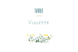 Marque-table mariage Bouquet sauvage jaune