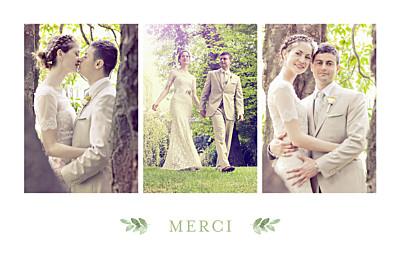 Carte de remerciement mariage Jardin anglais vert finition