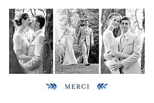 Carte de remerciement mariage bleu jardin anglais bleu