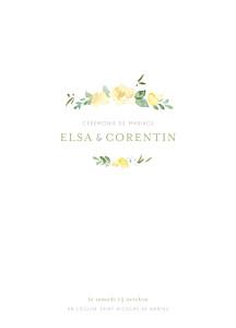 Livret de messe mariage jaune jardin anglais vert