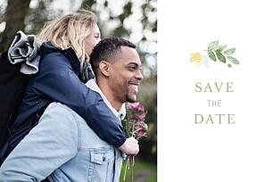 Save the date jaune jardin anglais vert
