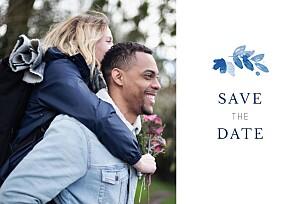 Save the date bleu jardin anglais bleu