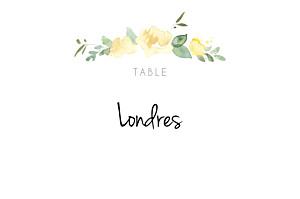 Marque-table mariage jaune jardin anglais vert