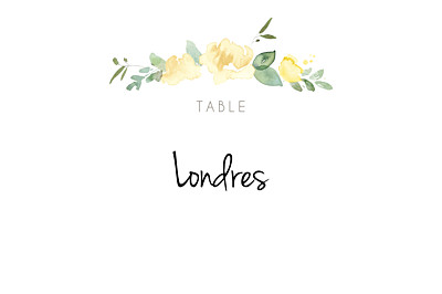 Marque-table mariage Jardin anglais vert finition